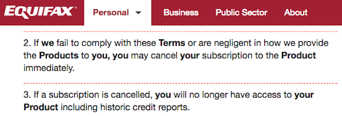 Equifax cancel and refunds