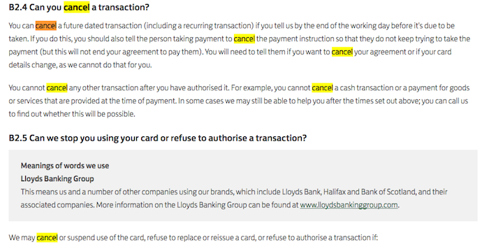 how to cancel lloyds bank transaction