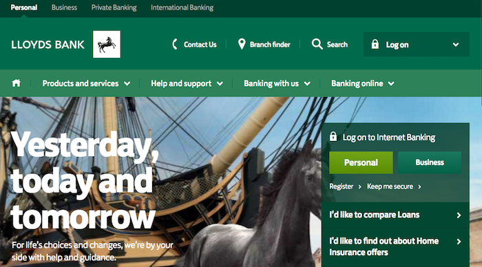 Lloyds Bank homepage