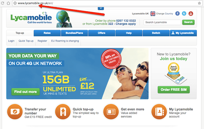Lycamobile main page