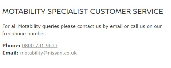 Nissan Motability Specialists Contact Number