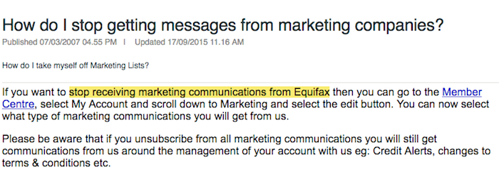 stop receiving marketing communications from Equifax