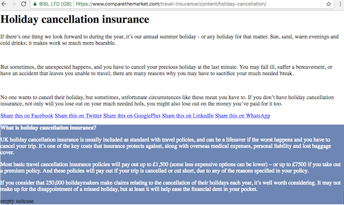 Comparethemarket holiday cancellation insurance