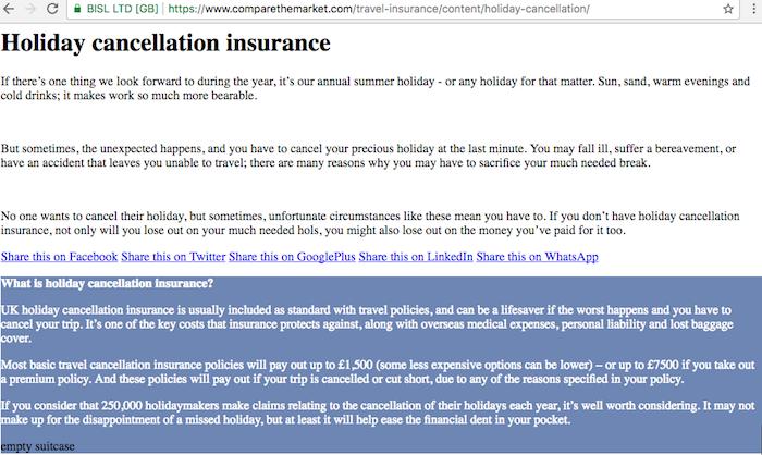 Comparethemarket holiday cancellation insurance