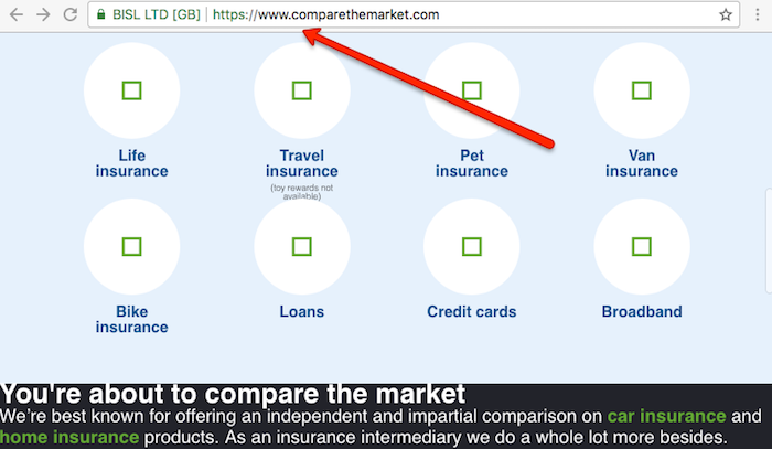 Comparethemarket website