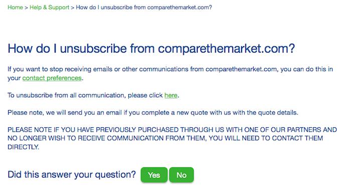 Comparethemarket Unsubscribe