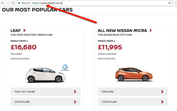 Nissan Main Website