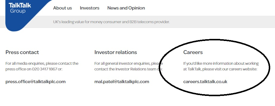 TalkTalk Careers number