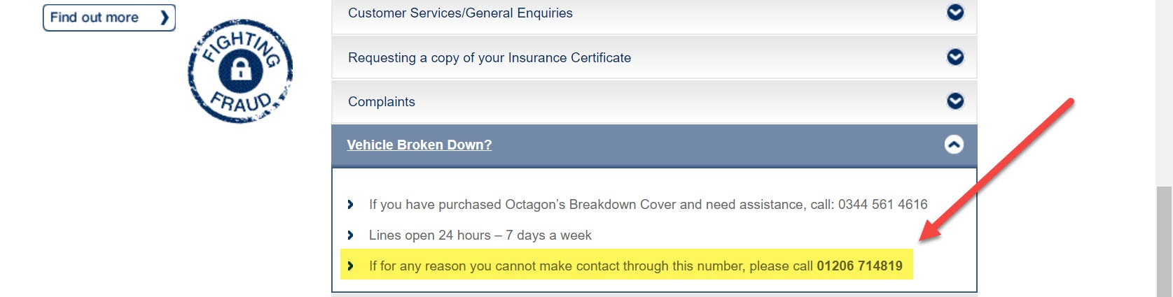 Octagon Vehicle Breakdown number
