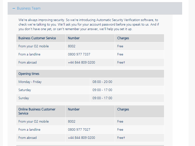 O2 Business Team Contact Number