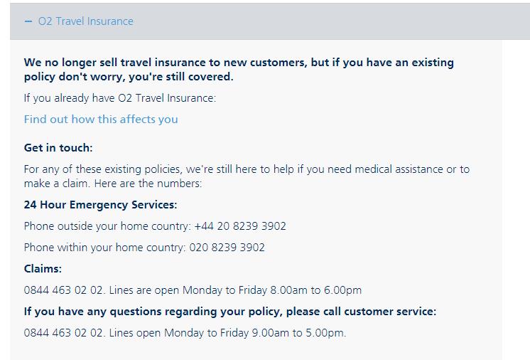 O2 UK Travel Insurance