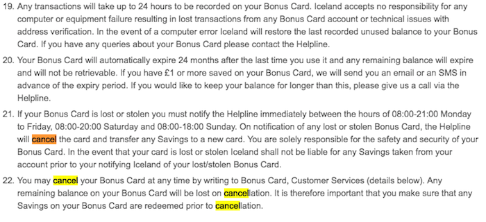 Cancel Iceland Bonus Card