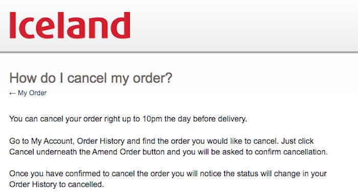 Cancel Iceland Order