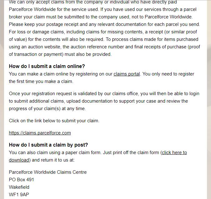ParcelForce claim address