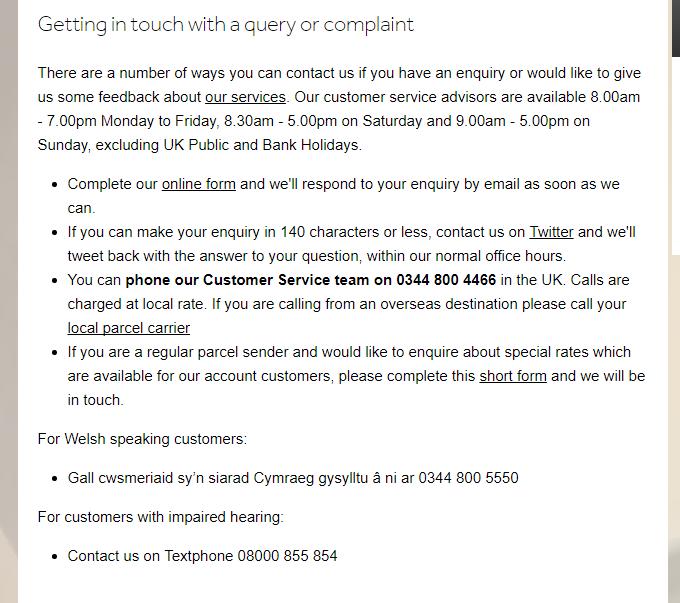 ParcelForce complaint phone number
