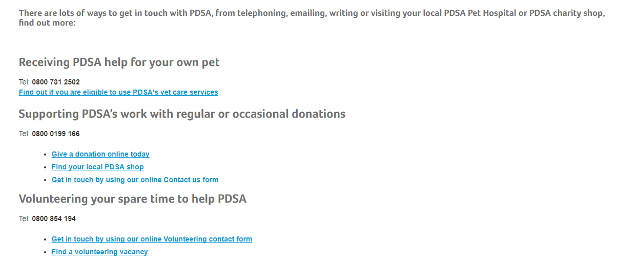 PDSA pets contact number and helpline