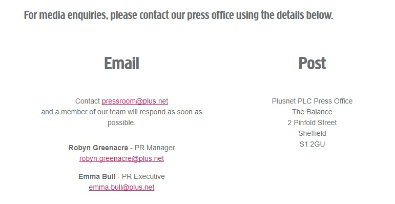 Plusnet Contact Us