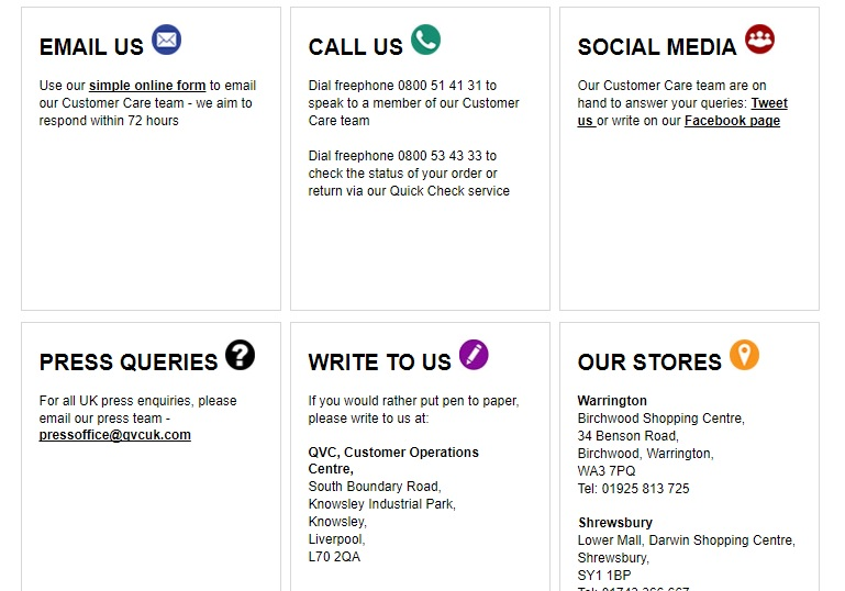 QVC UK Contact Numbers - UK Contact Numbers