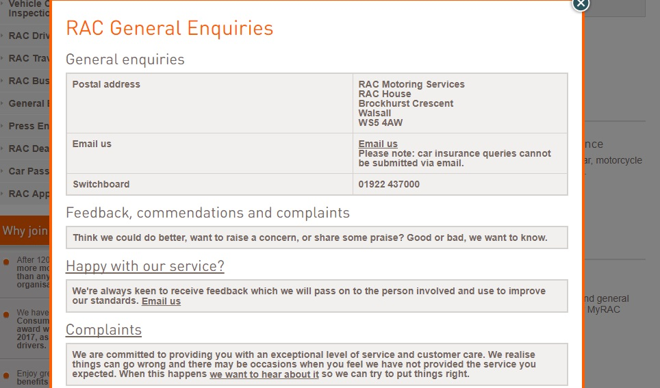 RAC Phone Number - general Enquirers