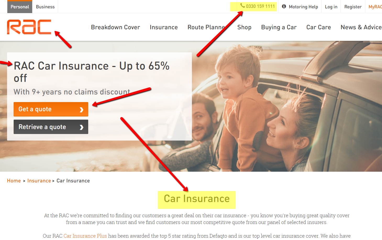 RAC Car Insurance and Family