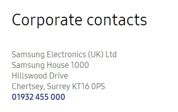 Samsung Corporate Contact Us
