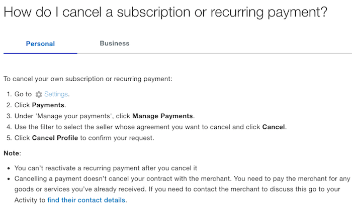 cancel paypal subscription recurring payment
