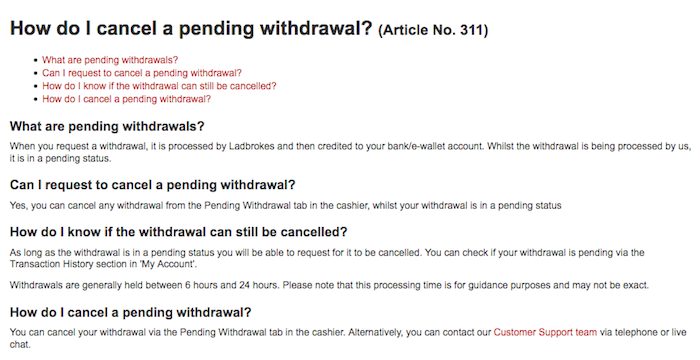 How to cancel a Ladbrokes pending withdrawal