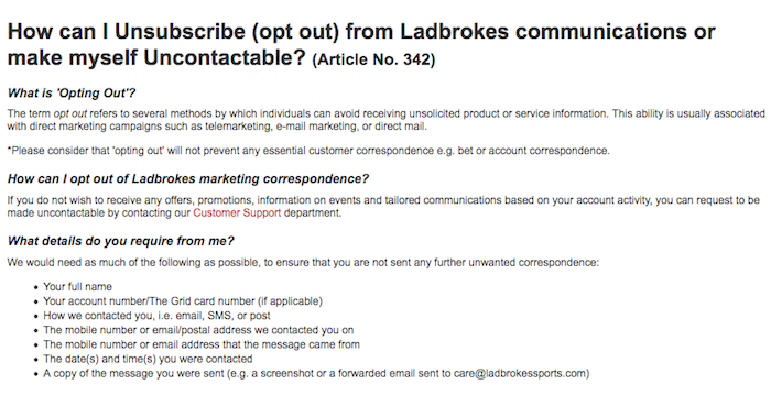 Ladbrokes unsubscribe from communication