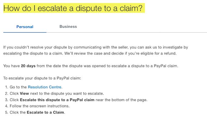 Paypal Dispute Claim