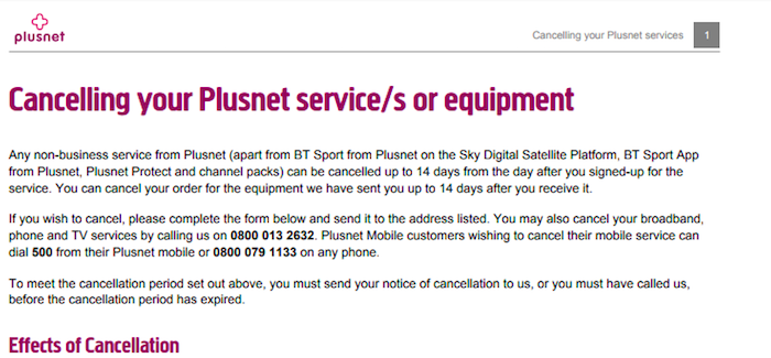 Plusnet 14 day cancellation