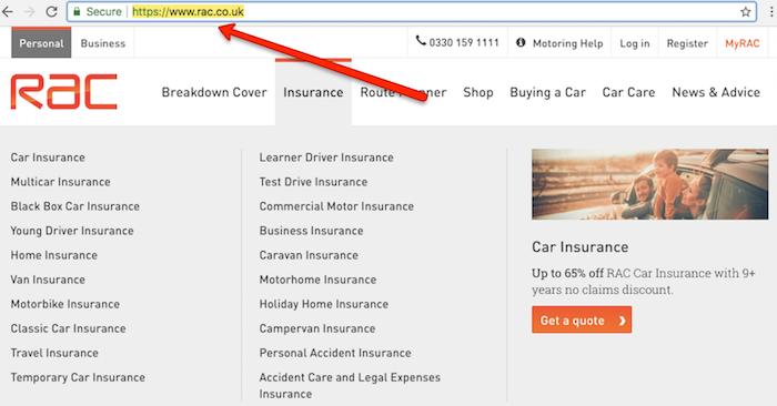 Rac Insurance Homepage