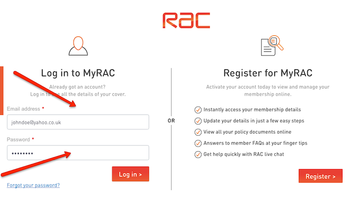 Rac insurance my account