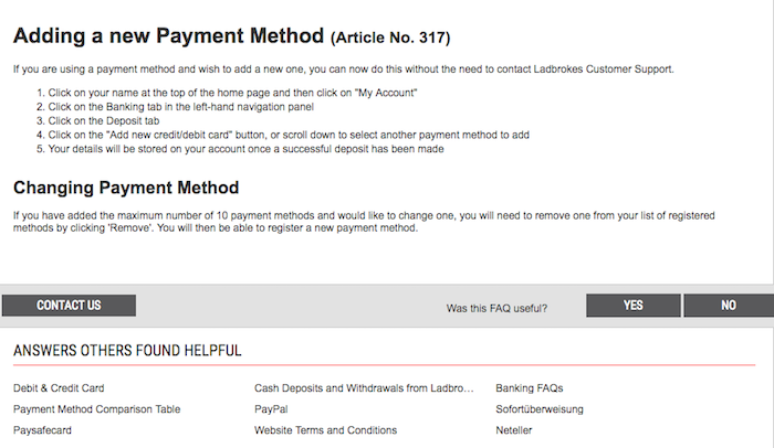 Remove Card from Ladbrokes account