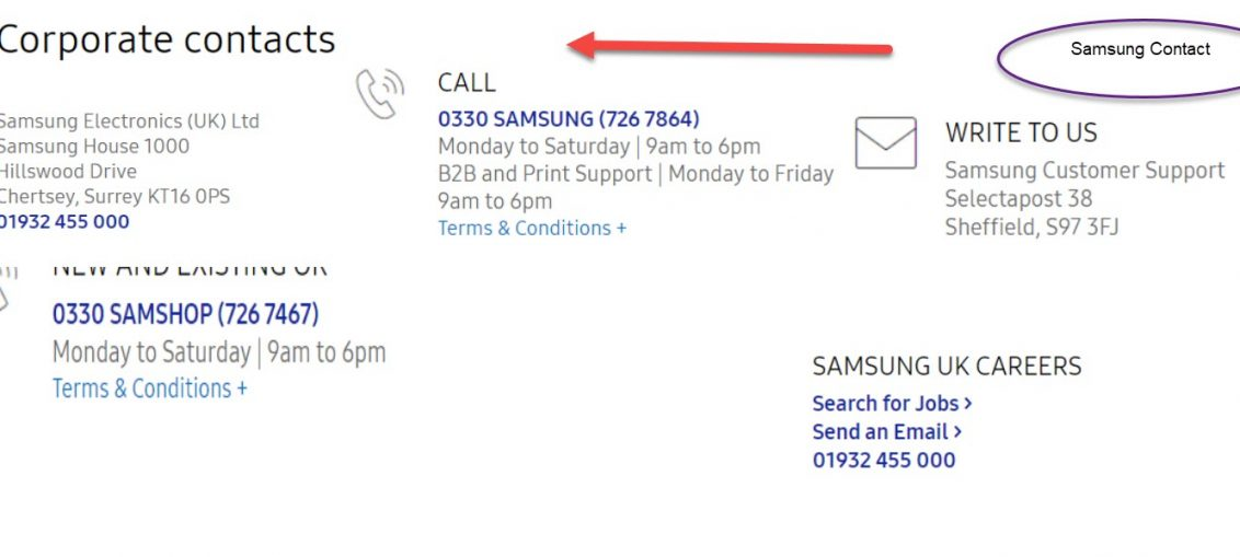 Samsung contact Numbers