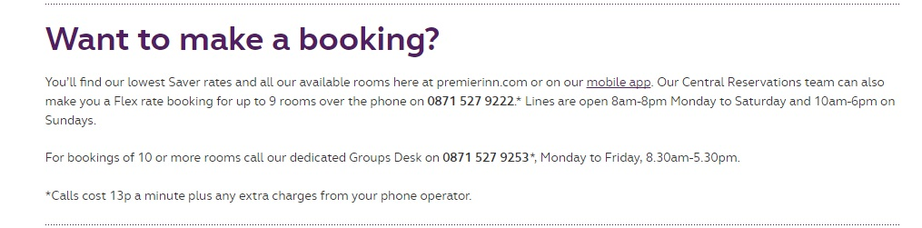premier inn bookings