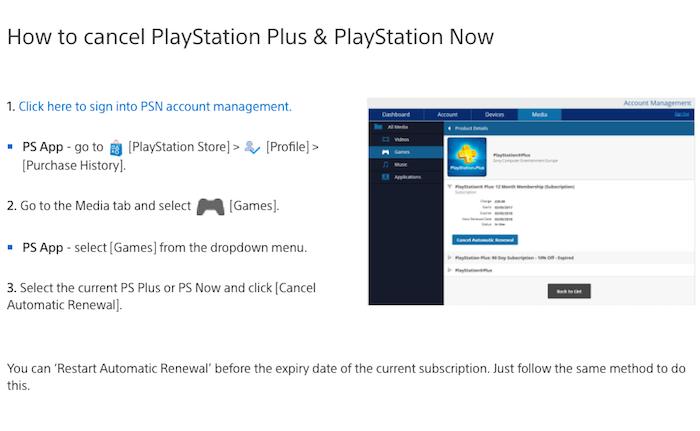 Cancel Sony Playstation Plus