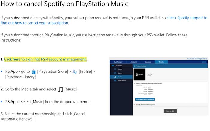 Cancel Spotify on Playstation music