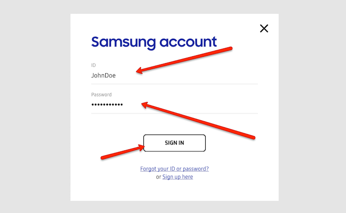 Samsung account login