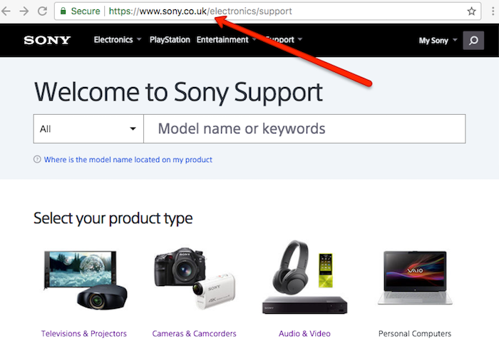 Sony Support Page