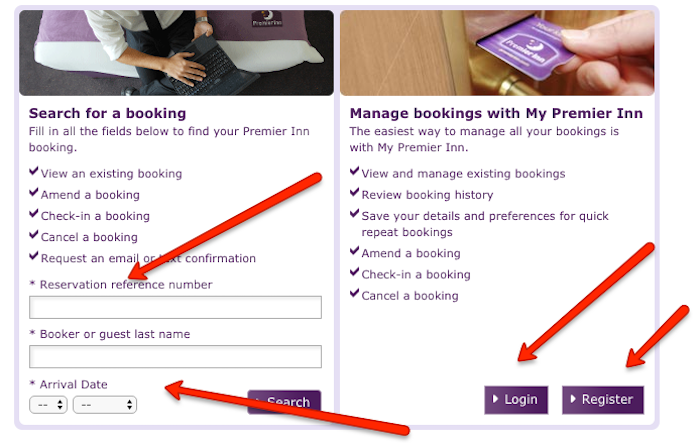 Premier Inn Booking Reference number