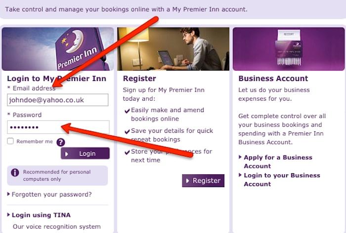 Premier Inn login