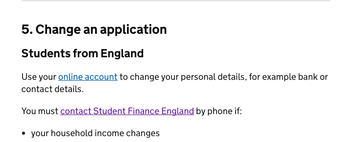 Change Student Finance UK England