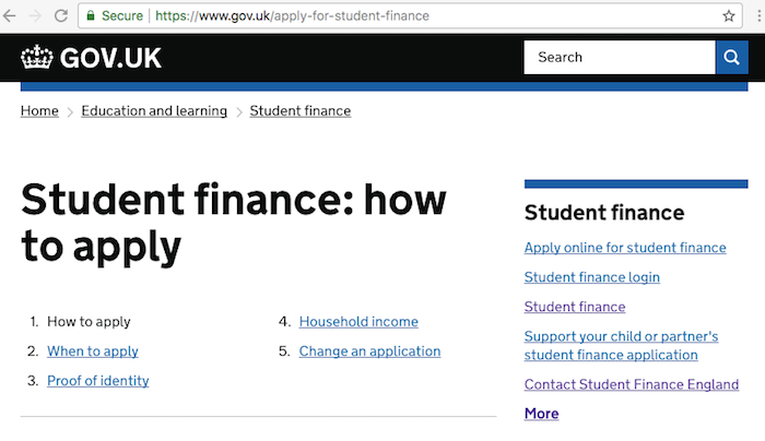 Student Finance UK Homepage