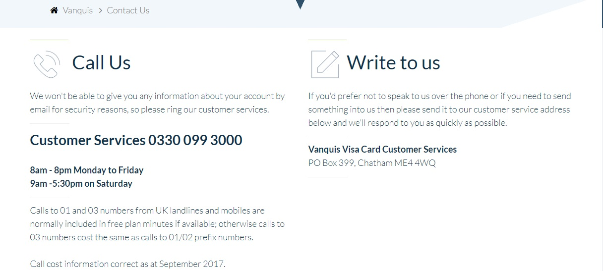 Vanquis Bank Customer Service