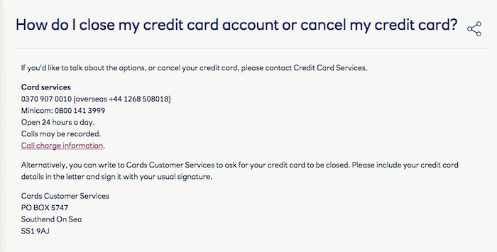 Cancel RBS UK credit card