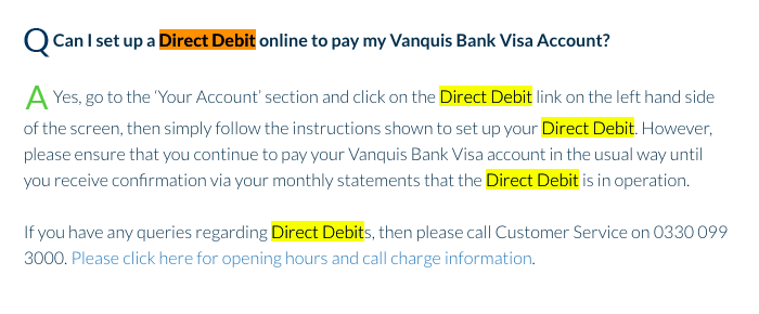 Cancel Vanquis Direct Debit