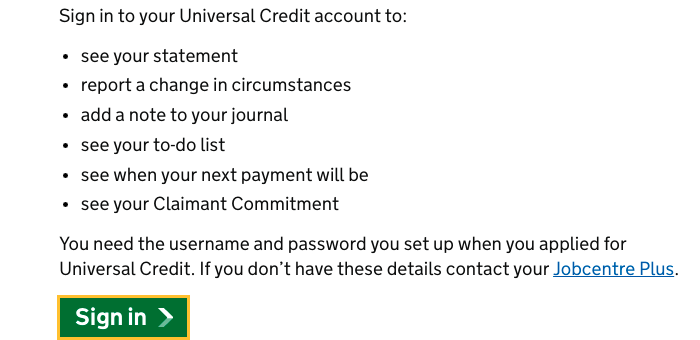 Sign In Universal Credit Account