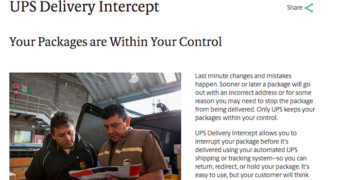 UPS Delivery Intercept
