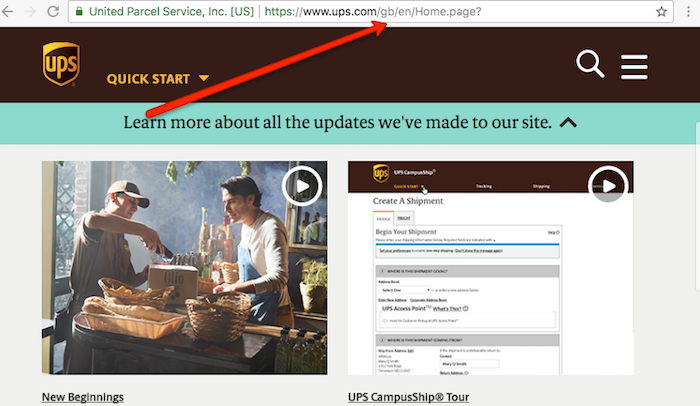 UPS Main Website
