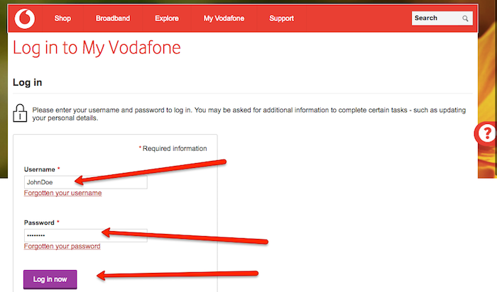 vodafone login and cancel